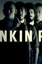 Preview iPhone wallpaper Linkin Park rock band, black and white style