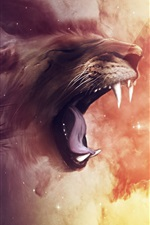 Preview iPhone wallpaper Lion roar, digital art picture