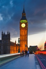 Preview iPhone wallpaper London, England, Big Ben, street, clouds, evening