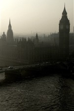 Preview iPhone wallpaper London, bridge, river, Big Ben, morning, mist, England