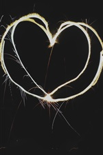 Love hearts, fireworks, black background