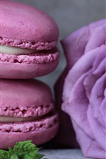 Preview iPhone wallpaper Macaron, food, purple rose