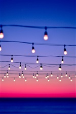 Preview iPhone wallpaper Many light bulbs, wire, sunset