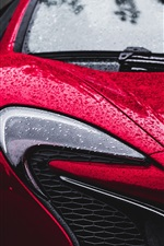 Preview iPhone wallpaper McLaren red car front view, headlight, after rain, water drops