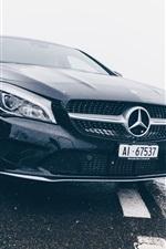 Preview iPhone wallpaper Mercedes-Benz black car front view, headlight, rain
