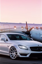 Preview iPhone wallpaper Mercedes-Benz white car, airport