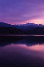 Preview iPhone wallpaper Mountain, lake, dusk, water reflection