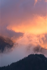 Preview iPhone wallpaper Mountains, clouds, trees, sky, sunset, nature landscape