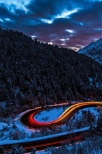 Preview iPhone wallpaper Mountains, forest, snow, road, light, car, winter, dusk