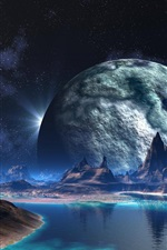Preview iPhone wallpaper Mountains, lake, planet, creative design