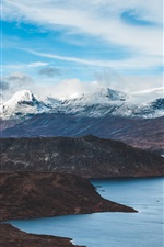 Preview iPhone wallpaper Mountains, lake, sky, clouds, nature landscape