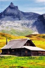 Montanhas, declive, casa, grama, fazenda