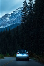 Preview iPhone wallpaper Mountains, trees, road, car, dusk