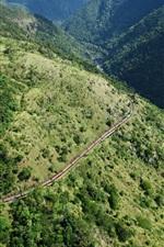 Montanhas, árvores, trem, vista de cima