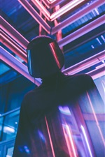 Preview iPhone wallpaper Neon lights, man, mask, glare