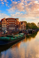 Preview iPhone wallpaper Netherlands, Amsterdam, river, boats, trees, city, sunshine
