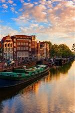 Holanda, Amsterdã, rio, barcos, árvores, cidade, luz do sol