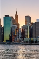 Preview iPhone wallpaper New York, city, skyscrapers, river, USA, dusk