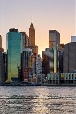 Vorschau des iPhone Hintergrundbilder New York, Stadt, Wolkenkratzer, Fluss, USA, Dämmerung