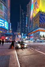Preview iPhone wallpaper New York, night street, roads, buildings, lights, USA