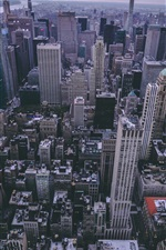 Preview iPhone wallpaper New York, skyscrapers, USA, top view, dusk