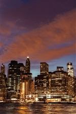 New York, skyscrapers, buildings, river, lights, night, USA
