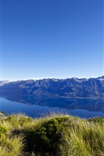 Preview iPhone wallpaper New Zealand, lake, mountains, grass, nature landscape