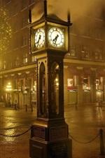 Preview iPhone wallpaper Night, city, street, clock, lights, fog