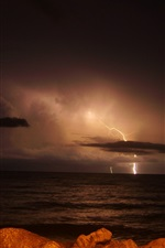 Preview iPhone wallpaper Night, lightning, storm, clouds, sea