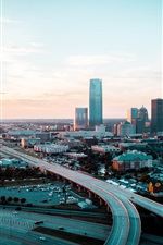 Preview iPhone wallpaper Oklahoma, city, skyscrapers, roads, buildings, dusk, USA