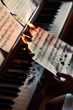 Paper, music, burning, piano
