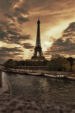 Paris, France, Eiffel Tower, night, river, boats, trees, clouds, dusk