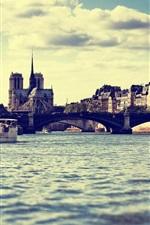 Preview iPhone wallpaper Paris, France, river, bridge, city, dusk