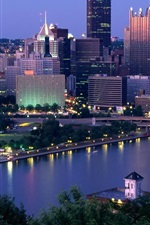Preview iPhone wallpaper Pennsylvania, Pittsburgh, skyscrapers, city, river, dusk, USA