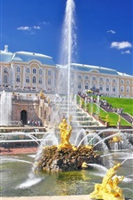 Preview iPhone wallpaper Peterhof Palace, fountain, people, Russia