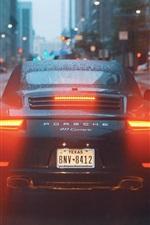 Porsche 911 Carrera supercar back view, water drops, city, road