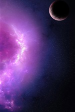 Preview iPhone wallpaper Purple nebula and planets