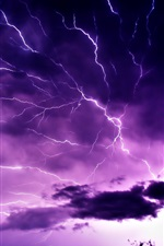 Preview iPhone wallpaper Purple sky, clouds, lightning, nature power