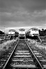 Preview iPhone wallpaper Railway station, track, train, black and white picture