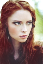 Preview iPhone wallpaper Red hair girl, outdoor