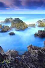 Preview iPhone wallpaper Rocks, blue sea, dawn