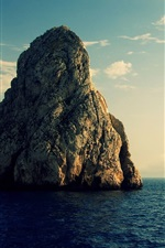 Preview iPhone wallpaper Rocks, small island, sea, clouds