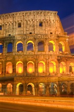 Preview iPhone wallpaper Roman colosseum night view, lights, road
