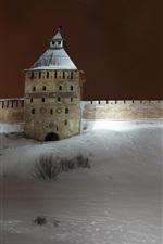 iPhone fondos de pantalla Rusia, Veliky Novgorod, pared, nieve, invierno