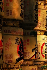 Preview iPhone wallpaper Sake cellar, barrels, Japanese culture