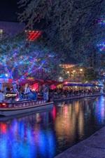 iPhone fondos de pantalla San Antonio, Texas, EE. UU., Navidad, noche, río, puente, luces