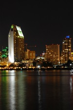 Preview iPhone wallpaper San Diego, city, night, buildings, river, lights, USA