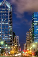 Preview iPhone wallpaper San Diego, night view, city, street, buildings, lights, USA