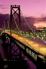 Preview iPhone wallpaper San Francisco, bridge, river, lights, buildings, night, moon, USA