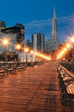 Preview iPhone wallpaper San Francisco, bridge, street, bench, lamps, night city, USA